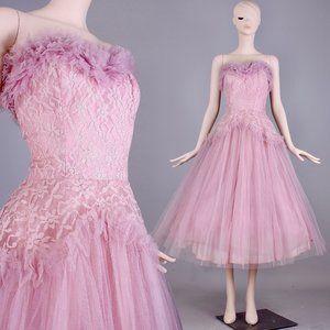 L/XL Vintage 50s Tulle Party Cocktail Dress